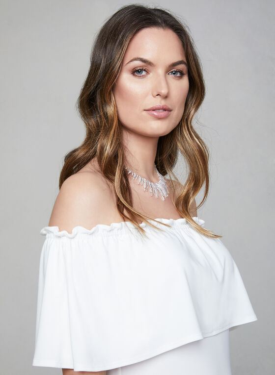 Off-the-Shoulder Jersey Top, Off White