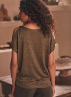 Cold Shoulder Metallic Sweater, Green