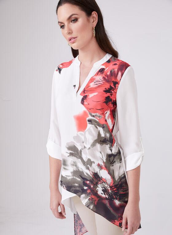 Floral Print Asymmetric Blouse, White