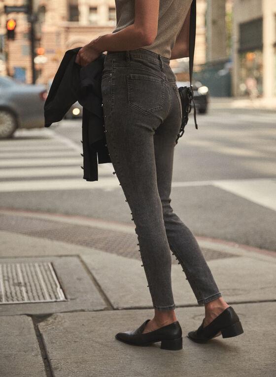 Pearl Embellished Slim Leg Jeans, Grey