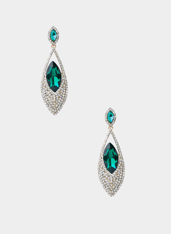 Emerald Stone Crystal Pavé Earrings, Green,