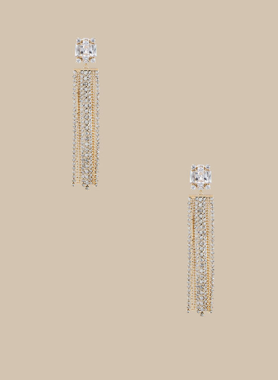 Crystal Cascade Earrings , Gold