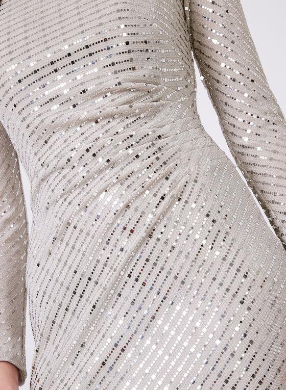 Cachet - Robe à épaules dénudées et paillettes, Argent, hi-res