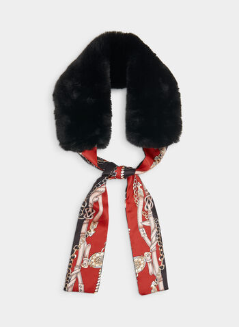 Faux Fur & Chain Print Necktie Scarf, Red, hi-res,  scarf, faux fur scarf, chain print, print scarf, necktie, fall 2019, winter 2019