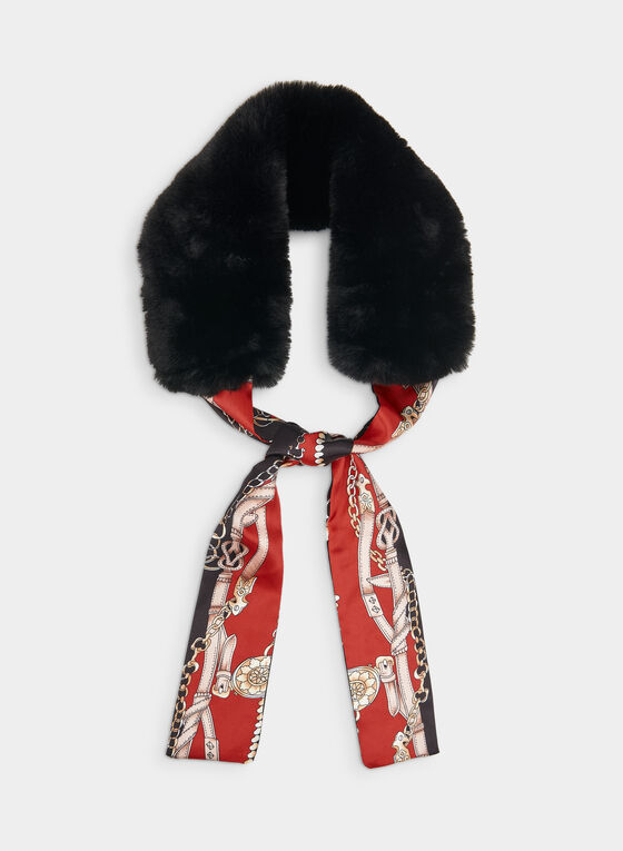 Faux Fur & Chain Print Necktie Scarf, Red