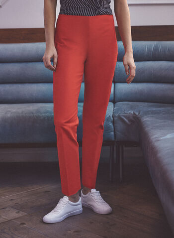 Vince Camuto - Slim Leg Pull-On Pants, Red,  pants, slim leg, pull-on, pleats, spring summer 2021