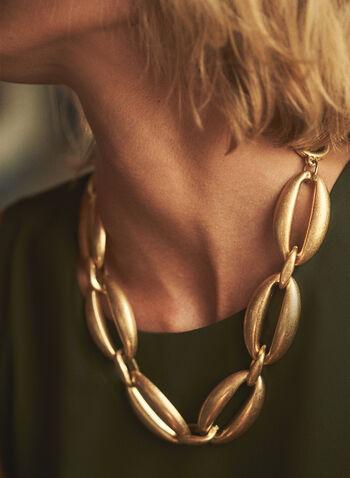 Collier doré à mélange de maillons, Or,  collier, accessoire, bijou, court, maillons larges, doré, fermoir bûchette, oval, rond, automne 2021