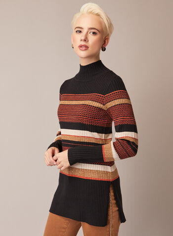 Striped Tunic Sweater, Black,  fall winter 2020, sweater, tunic, long sleeves, sweater, knit, ribbed, stripes, pattern, striped, slits, metallic, metallic, turtle neck