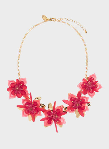 Short Floral Detail Necklace, Pink, hi-res