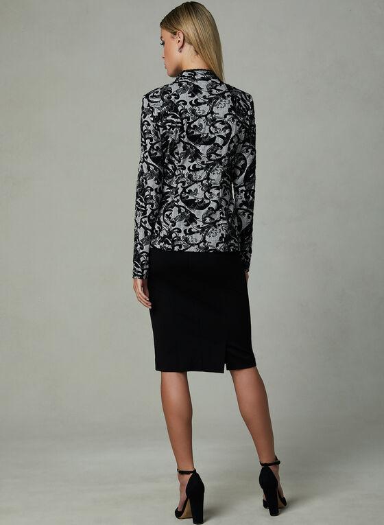 Frank Lyman – Jacquard Print Open Front Jacket, Grey, hi-res