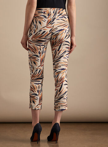 Leaf Print Pull-On Capris, White,  capri, pull-on, palm leaf, print, slim leg, abstract, pleats, bengaline, spring summer 2020