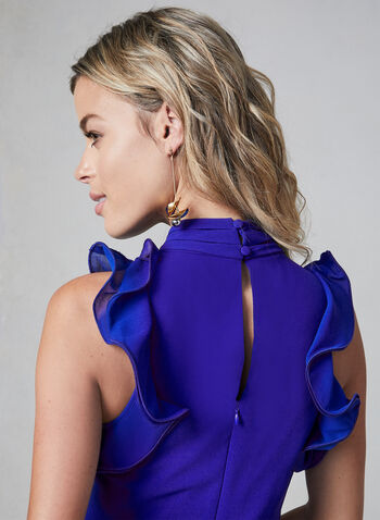 Vince Camuto - Chiffon Dress, Blue, hi-res,  Vince Camuto, cocktail dress, sleeveless, ruffles, pintuck, chiffon, fall 2019, winter 2019
