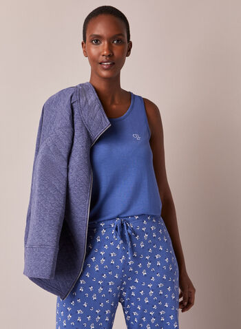 Three Piece Pyjama Set, Blue,  fall winter 2020, pyjama set, pj, sleepwear, three piece, floral print, jacket, camisole, cami, pants, elastic waist, quilted, comfort, stretch, warm, straight leg
