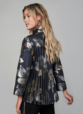Frank Lyman - Floral Jacket, Blue,  Frank Lyman, Canada, pleats, jacket, floral, metallic, 3/4 sleeves, fall 2019, winter 2019