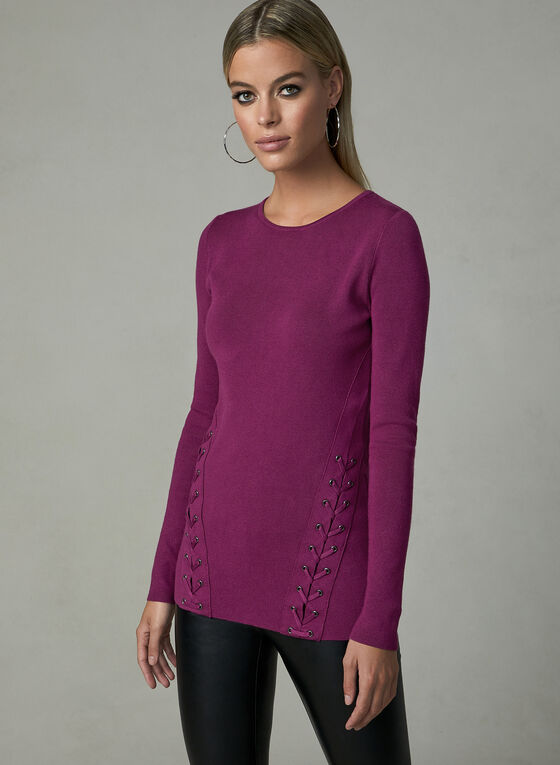 Long Sleeve Lace Up Sweater, Pink, hi-res