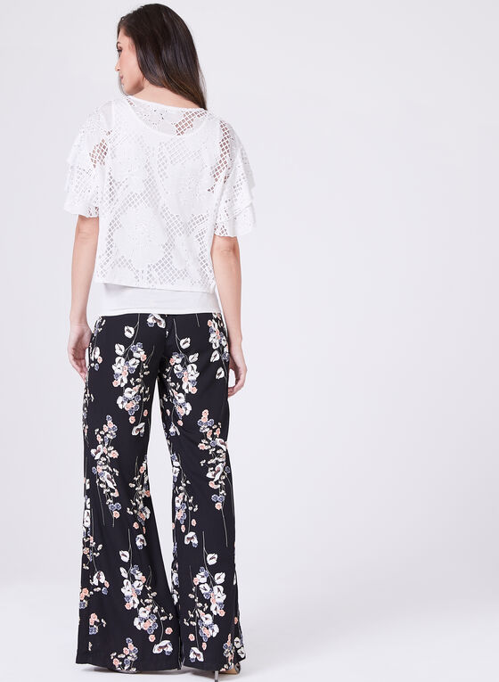 Tiered Cap Sleeve Floral Burnout Top, White