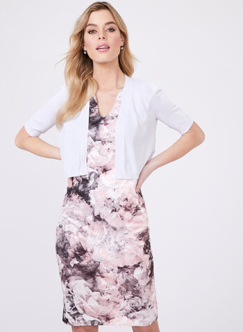 Cardigan ouvert en tricot et bordures texturées, Blanc, hi-res