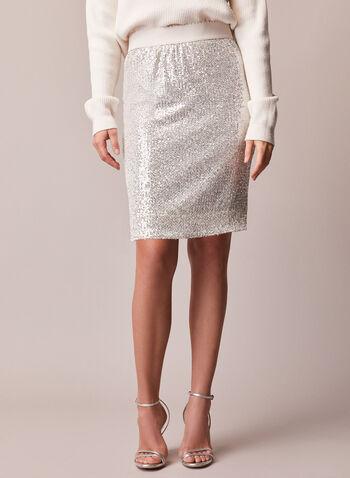 Sequin Pencil Skirt, Off White,  fall winter 2020, sequin, pencil, skirt, shine, glitz, glam, elastic waist, pull-on, pull on, monochrome, holiday, festive