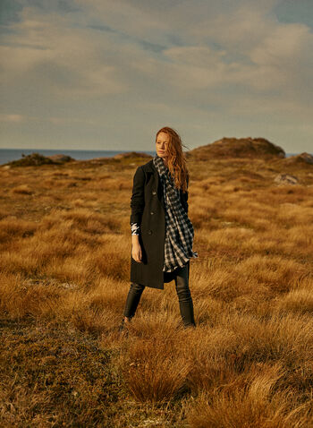 Manteau double boutonnage en laine mélangée, Noir,  automne hiver 2020, manteau, boutons, laine, mélange, col cranté, poches