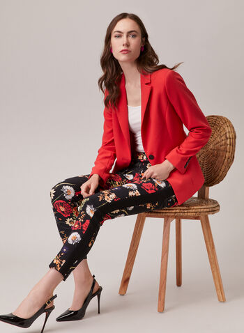 Floral Print Slim Leg Pants, Red,  pants, floral, pull-on, slim leg, contrast, bengaline, spring summer 2020