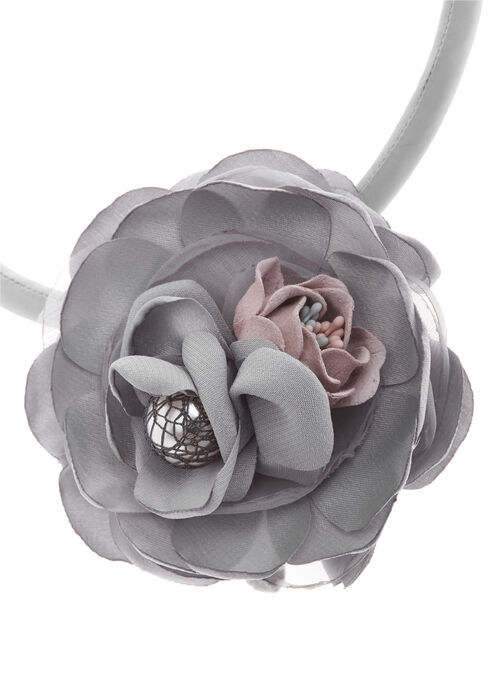 Flower Cord Necklace, Grey, hi-res