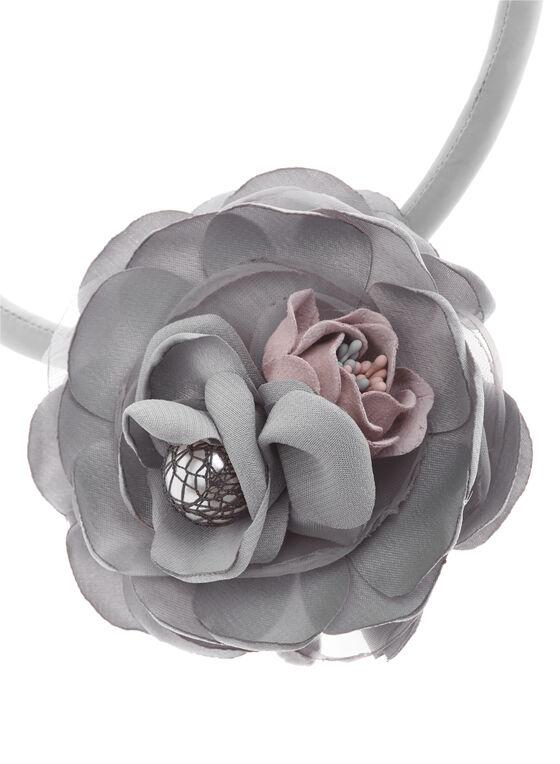 Collier de corde à fleurs , Gris, hi-res