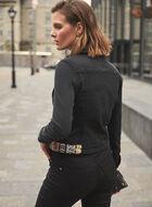 Veste en jean à bandes décoratives , Noir