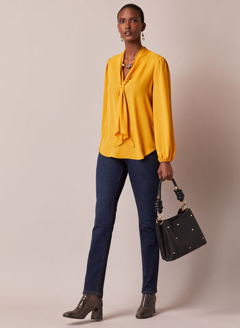 Foulard Collar Crepe Blouse, Yellow,  fall winter 2020, holiday, holidays 2020, chiffon, muslin, blouse, long sleeves, foulard collar, scarf