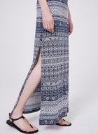 Robe maxi motif aztèque et col en mousseline, Bleu, hi-res
