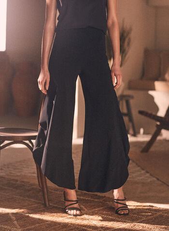 Joseph Ribkoff - Pull-On Palazzo Pants, Black,  pants, wide leg, palazzo, ruffled, wavy, slit, pull-on, ribkoff, lyman, spring summer 2021
