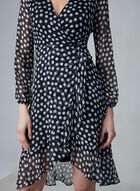 Polka Dot Print Chiffon Dress, Black, hi-res