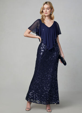 Marina - Sequin Lace Popover Dress, Blue, hi-res,  cold shoulder, sleeveless, mesh, long dress,
