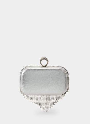 Crystal Cascade Clutch , Silver, hi-res,  clutch, crystals, crystal clutch, metallic, metallic clutch, evening clutch, fringes, fall 2019, winter 2019