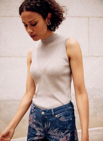 Camisole basique en tricot côtelé, Beige,  camisole, haut, basique, col montant, sans manches, détail en X, tricot côtelé, automne 2021