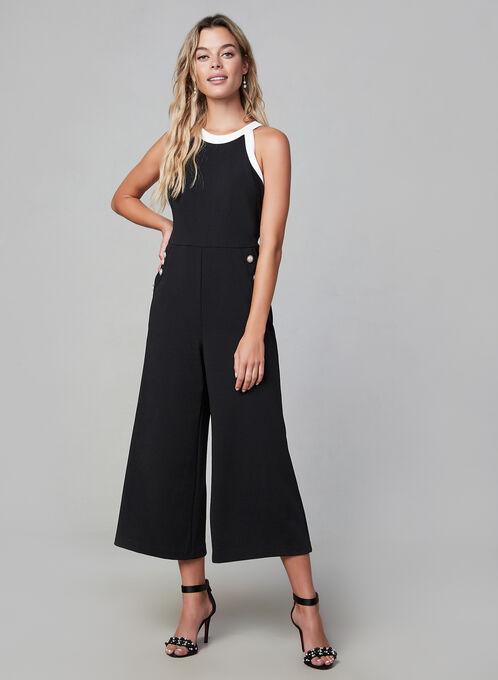 Karl Lagerfeld - Contrast Crepe Jumpsuit , Black