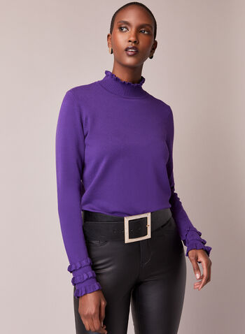 Ruffled Mock Neck Sweater, Purple,  sweater, high collar, ruffles, knitting, fall winter 2020, mock neck, holiday