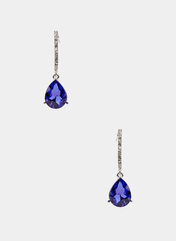 Boucles d'oreilles à pierre facettée et cristaux, Bleu, hi-res