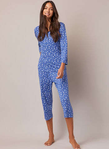 Ensemble pyjama à boutons, Bleu,  automne hiver 2020, ensemble, pyjama