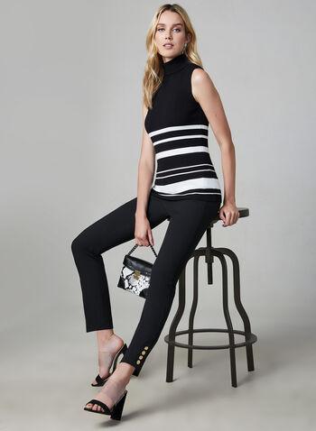 Pantalon Giselle à jambe étroite, Noir, hi-res,  pantalon, jambe étroite, giselle, pinces, faux boutons, automne hiver 2019