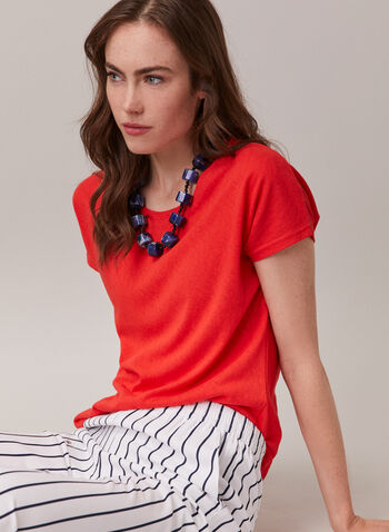 Alison Sheri - Short Sleeve Top, Orange,  top, round neck, short sleeves, cotton blend, linen, spring summer 2020