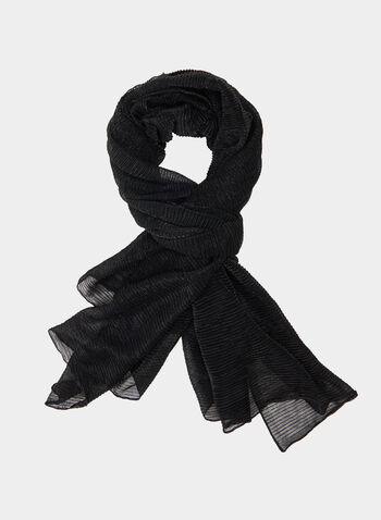 Textured Scarf, Black, hi-res