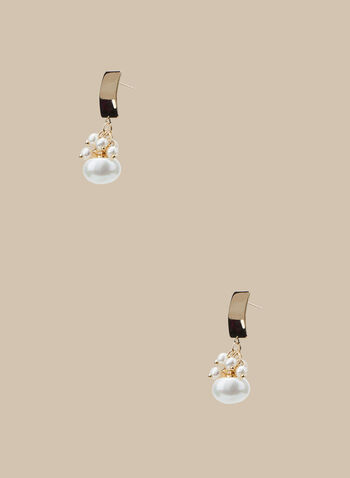Pearl Cluster Dangle Earrings, Off White,  earrings, pearls, metallic, golden, dangle, spring summer 2020