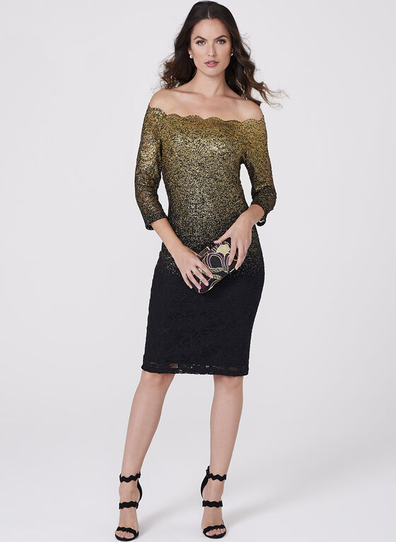 Foil Lace Sheath Dress, Black, hi-res