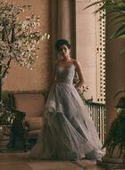 Terani Couture - V-Neck Glitter Ball Gown, Silver