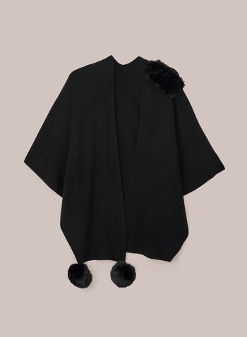 Joseph Ribkoff - Pompom Detail Wrap, Black,  wrap, faux fur, fall winter 2020
