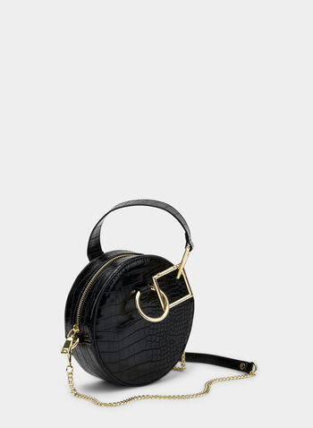 Crocodile Print Round Handbag, Black, hi-res,  circle, round, chain, faux crocodile skin, fall 2019, winter 2019