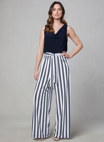 Emma & Michele - Stripe Print Jumpsuit, Blue,  jumpsuit, sleeveless, stripe print, spring 2019, summer 2019