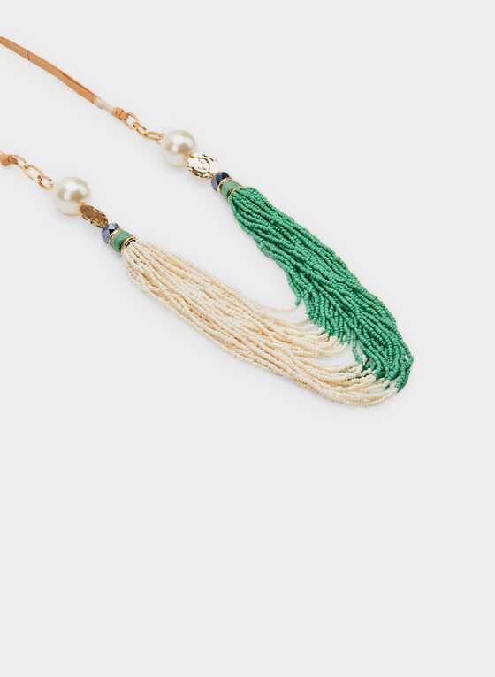 Two Tone Bead Necklace, Gold, hi-res