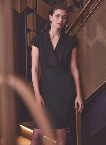 Belted Cap Sleeve Dress, Black,  fall winter 2020, dress, tailored, belted, cap sleeves, wrap, v-neck