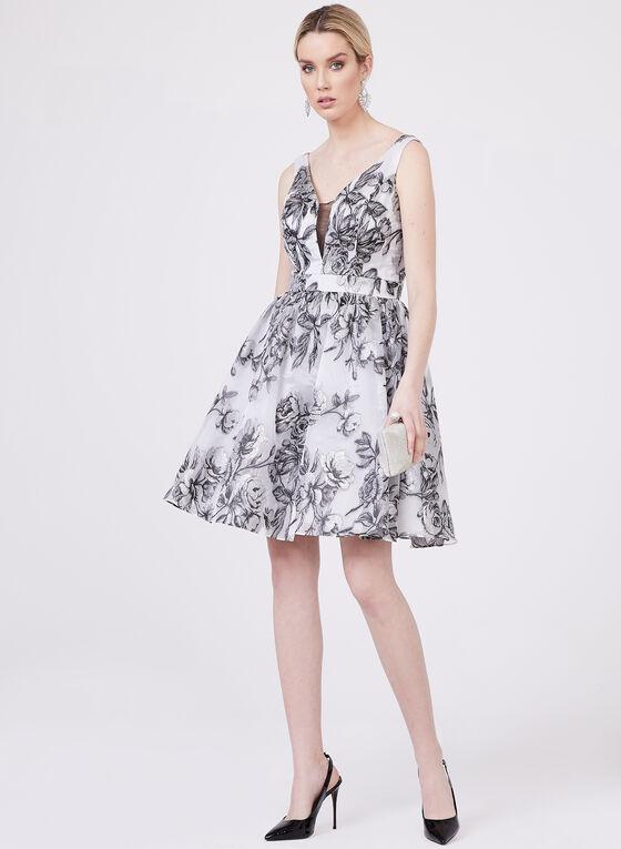Cachet – Floral Print Fit & Flare Dress, Silver, hi-res